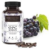Cápsulas OPC Extracto de Semilla de Uva + Vitamina C, A natural y E | Complejo Antioxidante Forte Probado en Laboratorio | 530mg polvo puro | Vegano sin estearato de magnesio de Alemania