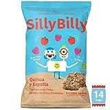 SillyBilly Cuadraditos horneados BIO de Quinoa, Espelta, Manzana, Fresa, Semillas de Chía y Almendras (Pack 14 X 24g)