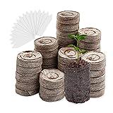Yuccer 100 Piezas 30mm Turba para Plantar Prensada con 100 Piezas Etiquetas Plantas Pastillas de Turba para Semillas de Coco Tabletas de Turba para Cultivo de Esquejes y Germinación de Semillas